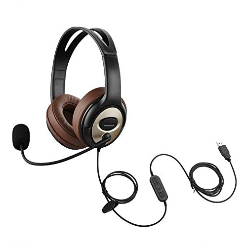 USB-Headset Mit Mikrofon für PC / Laptop zur Spracherkennung von Drachen, Diktat, kabelgebundenen PC-Kopfhörern für Schule, Kinder, Büro, Skype-Chat, Zoom, Konferenzen, Anrufe, Spiele