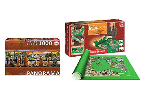 Promohobby Tapete para enrollar Puzzles (hasta 3000 Piezas) + Puzzle Educa 1000 Piezas Perros en el embarcadero Panorama (Ref. 17689)