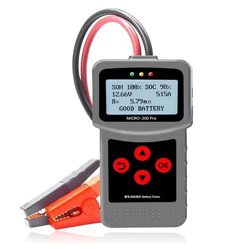 Bostar Probador de Batería de Coche, 12V Comprobador de Carga de Bateria, Analizador de Alternador,con Pantalla LED LCD Micro 200 Pro Herramienta para Coche, Barco, Camión, Motocicleta