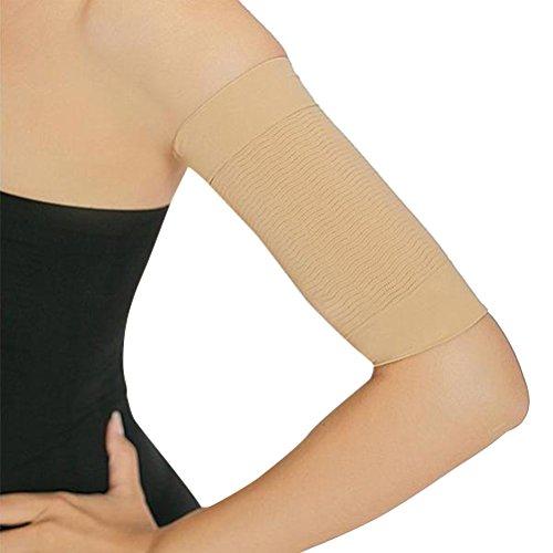 Supvox Pérdida de peso Faja reductora para adelgazar del brazo Quemador de grasa Quemar la celulitis para mujeres, mujeres, mujeres 2 pares (Caqui + Negro)