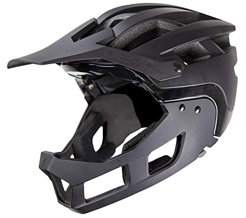 Demon United FR Link System Mountain Bike Helmet Fullface with Removable Chin Guard- Medium/Large with Head Cinch Adjuster and Extra Padded Fit Kit