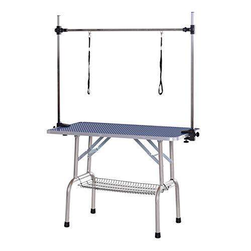 Pawhut Trimmtisch Tierpflegetisch Schertisch Pflegetisch mit Unterkorb für Hunde höhenverstellbar klappbar Edelstahl Metall Blau 107 x 60 x 170 cm