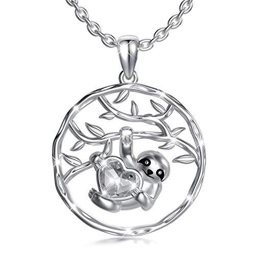 Faultier Kette Sterling Silber Faultier Geschenke Schmuck mit Kristallen, Geburtstagsgeschenke für Frauen Mädchen (Weiß)