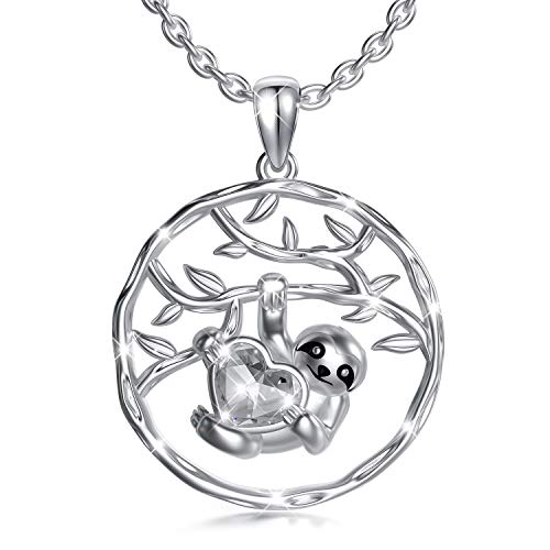 Sloth Necklace Sterling Silver Tree of Life Necklace with Swarovski Crystals, Sloth Jewellery Birthday Gifts for Women Girls Her (White)