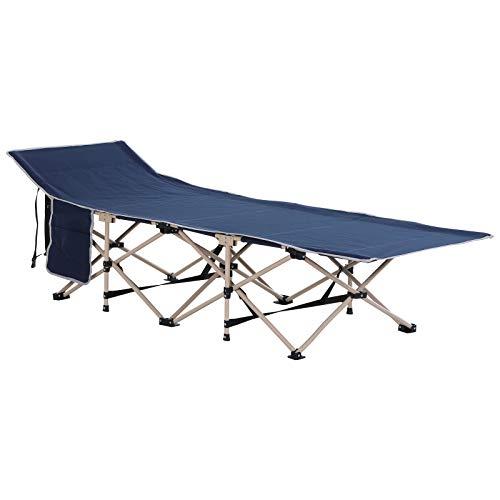 Outsunny Feldbett mit Aufbewahrungstasche, Faltbares Campingbett, Campingliege, Inkl. Tragetasche, Stahl Oxford, Blau, 190 x 68 x 52 cm