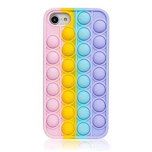 Fidget Toys Cassa del Telefono per iPhone 6/ 7/8/SE 2020, Cover Pop Push Bubble Custodia Giocattolo Antistress in Silicone Alleviare lo Stress Phone Cover