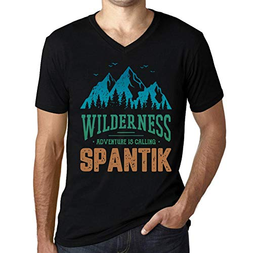 One in the City Hombre Camiseta Vintage Cuello V T-Shirt Gráfico Wilderness SPANTIK Negro Profundo