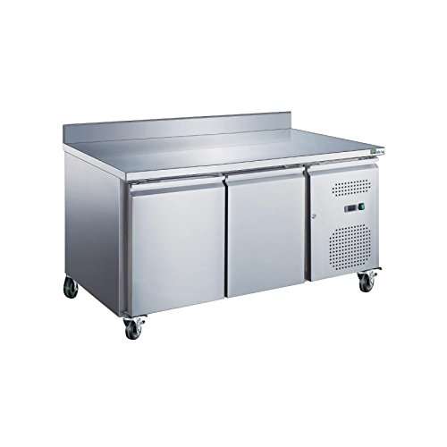 Table frigorifique GN 1/1 intérieur et extérieur inox ouverture 2, 3, ou 4 portes - 2 portes - Avec dosseret