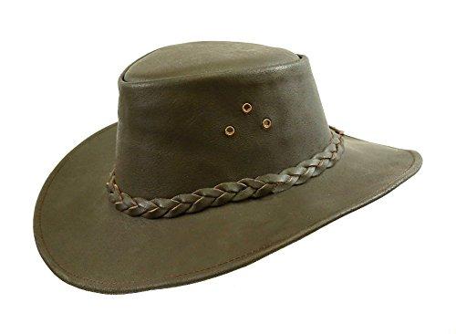 Kakadu Traders Australia Kakadu Traders Lederhut Murray in braun mit geschwungener Krempe und geflochtenem Hutband | Herren Damen Größe S | 2.Wahl