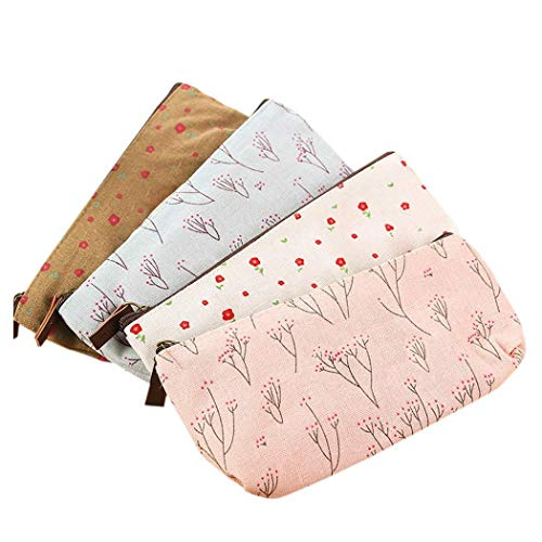 BAGTeck Makeup Bag/Travel Cosmetic bag,Coin Purse,Cute Floral Flower Canvas Zipper Pencil Cases, Multi-functional Cosmetic Makeup Bag lovely Flower Tree Fabric 4pcs set
