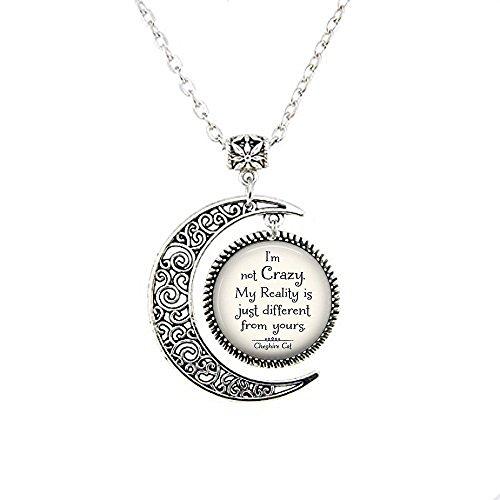 """Halskette mit Anhänger im Mondwolf, leuchtet im Wunderland, mit Zitat """"I'm not Crazy Cheshire Cat"""""""