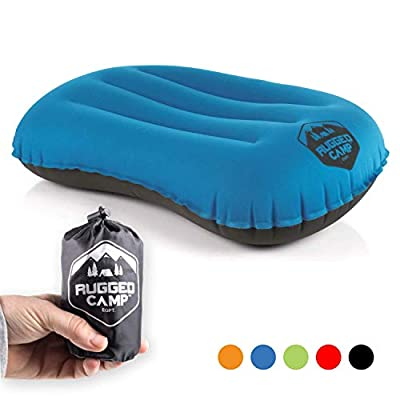 Rugged Camp Camping Pillow - Inflatable Travel Pillows - Multiple Colors - Compressible, Lightweight, Ergonomic Head Neck Support Camping Plane Travel - Lumbar Back Support (Blue/Black)