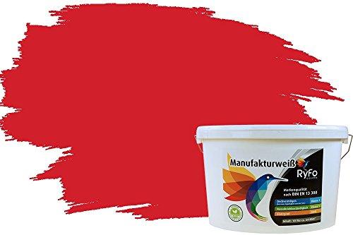 RyFo Colors Bunte Wandfarbe Manufakturweiß Feuerrot 10l - weitere Rot Farbtöne und Größen erhältlich, Deckkraft Klasse 1, Nassabrieb Klasse 1