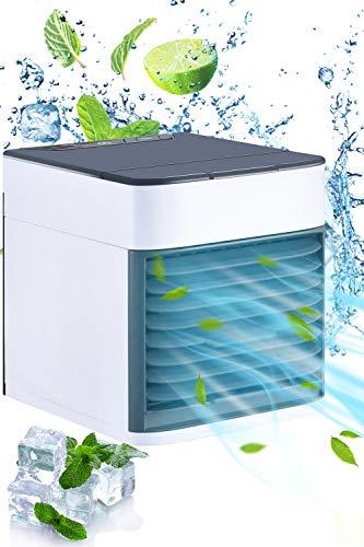 Mini Luftkühler, 3 in 1 Mini Air Cooler, USB Ventilator Tragber Mobile Klimageräte, 3 Kühlstufen für zu Hause, Büro, Auto, Hotel, Garage
