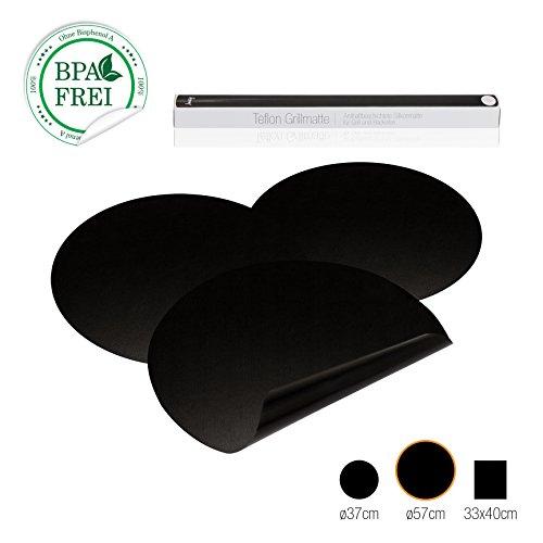 Amazy BBQ Grillmatte (3er Set) - Wiederverwendbare Premium Grill- und Backmatte mit Teflon Antihaftbeschichtung für Grill und Backofen (rund I Ø 57 cm)