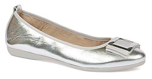 Damen Geschlossene Ballerinas | La Ballerina Ramona | Ballerinas für empfindliche Füße | Metallic Leder Silber | Silberne Schnalle (Numeric_37_Point_5)