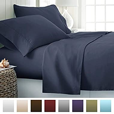 Beckham Hotel Collection 1500 Series Luxury Soft Brushed Microfiber Bed Sheet Set Deep Pocket - Queen - Navy Blue