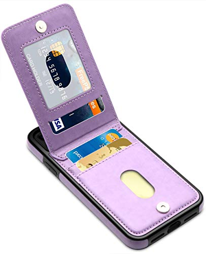 LakiBeibi Phone Case for iPhone 11 Dual Layer Lightweight Premium Leather iPhone 11 Wallet Case with Card Slot Magnetic Lock Folio Flip Protective Case for Apple iPhone 11 6.1 Inches (2019), Purple