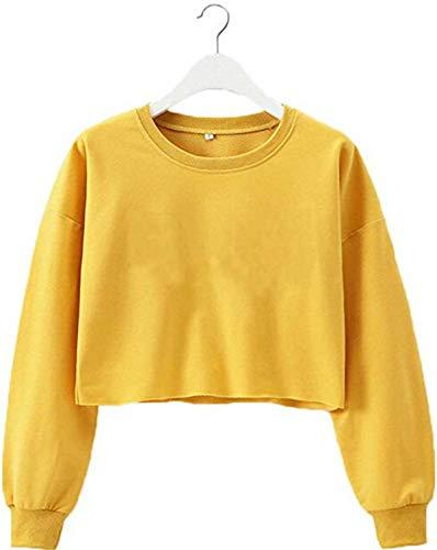 TUSFTAY Women Long Sleeve Crewneck Crop Top Pullover Sweatershirt Blouse Top (M, Yellow)