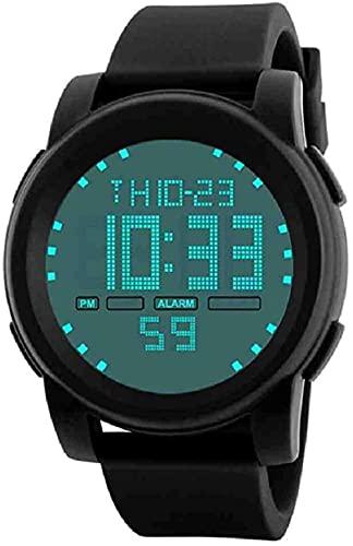 JZDH Mano Reloj Reloj de Moda Relojes de Moda Hombres LED Impermeable Hombre Digital Reloj Dijital Cuarzo Militar Relojes Decorativos Casuales (Color : Black)