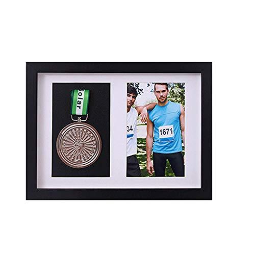 xj Rahmen für die Anzeige von Medaillen (Sportmedaille, 3D-Box, Bilderrahmen) Rahmen für die Anzeige von Kriegs- / Militär- / Sportmedaillen (1 Medaille + 1 Foto) (Schwarz)