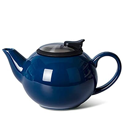 Xiteliy Teapot with Stainless Steel Infuser To Brew Loose Leaf Tea (Navy Blue)