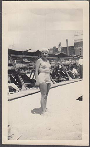 Older bathing beauty in cap Atlantic City NJ snapshot ca 1940s Mayflower Hotel