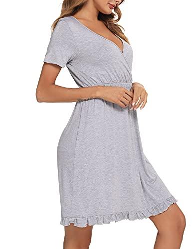 Doaraha Camisón Lactancia Algodón Mujer Ropa de Dormir Premamá Hospital Vestido de Maternidad Embarazo Pijama Embarazadas Camisones Embarazada Manga Corta Suave (B# Gris - Manga Corta, M)