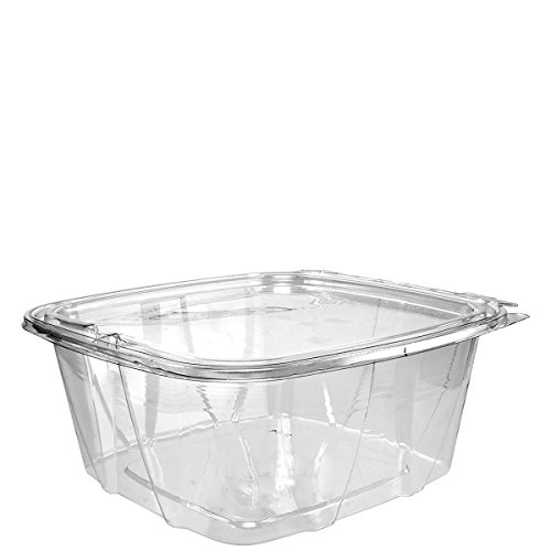 Dart CH64DEF 64 oz Tamper-Resistant Clear Hinged Container with Flat Lid (Case of 200)