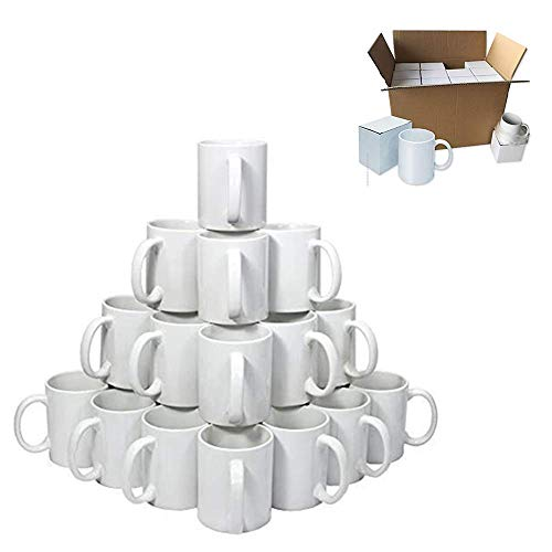 POVOKICI 36pc/carton 11OZ ORCA Coating White Sublimation Mug Blanks Grade AA Mugs for Heat Transfer Printing with White Box