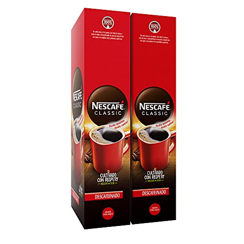 Nescafé café soluble descafeinado - 2 estuches x 50 sobres de 2 g - Total: 200 g