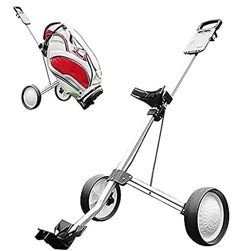 Pulley Carrito Golf Plegable de 2 Ruedas con Empuje y tracción, Carrito Golf aleación Aluminio, con portavasos y sombrilla Gratis Carrito Golf, fácil de Transportar y Montar Campos de Golf