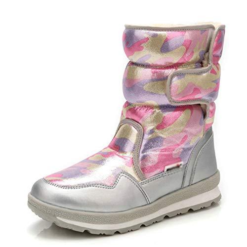 LIUJUN-WEI Botas de Nieve for Niños, Niñas Y Niños de Invierno A Prueba de Agua, Zapatos Cálidos Al Aire Libre, Más Terciopelo Acolchado for Padres Y Niños Zapatos de Algodón.