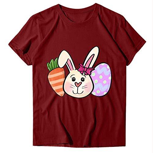Camiseta de Mujer Camiseta con Estampado de Huevos de Pascua para Mujer Camisa de Manga Corta con Cuello Redondo Suelto Informal Top con Estampado de Conejo