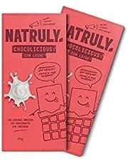 NATRULY Tableta de Chocolate sin Azúcar y sin Edulcorantes | Endulzado con Fibra de Achicoria | Sabor Chocolate con Leche -Pack 2x85 g