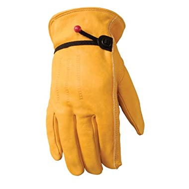Leather Work Gloves with Wrist Closure, DIY, Yardwork, Construction, Motorcycle, Large (Wells Lamont 1132L)