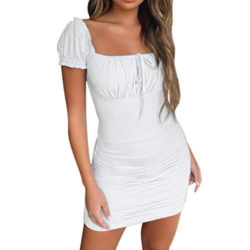 Elegante Kleider Damen Kleid Cocktailkleider Ronamick Frauen Sommer Solid Square Neck Kurzarm Schnürung Geraffte figurbetonten Minikleid(S, Weiß)