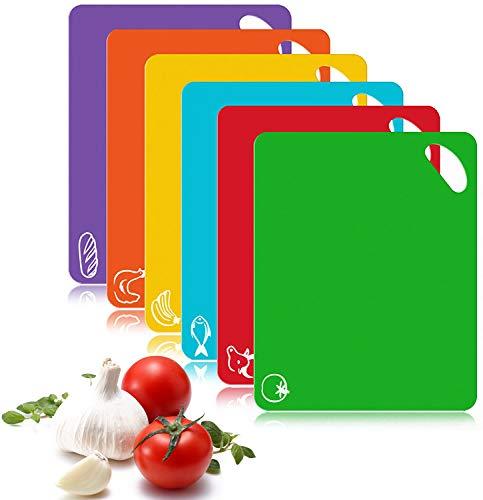 FyoFya Tabla de Cortar Cocina, 6Pcs 1.3mm Juego de tableros de Corte de plástico flexibl Alfombrillas Alimento Tablas de Cortar con Iconos de Alimentos Manijas, Antideslizante Lavavajillas