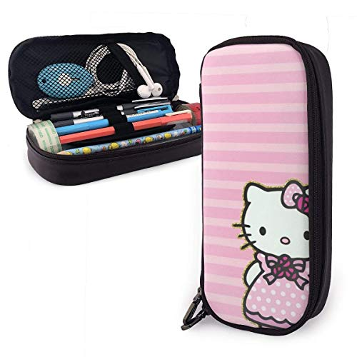 Federmäppchen Hello Kitty mit rosa Kleid Große Kapazität Bleistiftbeutel Make-up Federbeutel Briefpapier mit Doppelreißverschluss Stifthalter für Schule/Büro