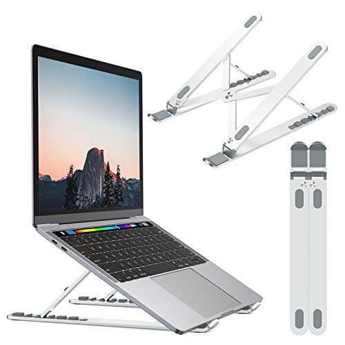 Nulaxy Laptop Stand, Portable Computer Laptop Mount, Aluminum Laptop Riser with 6 Levels Height Adjustment, Fully Collapsible, Supports up to 44lbs
