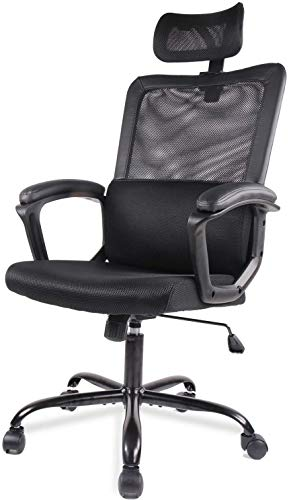 SMUGDESK Office Computer Chair Ergonomic Lumbar Support/Adjustable Headrest/Armrest and Wheels/Mesh High Back/Swivel Rolling, Black
