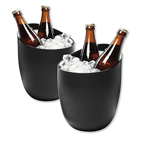 Elastofit 2er-Set Flaschenkühler Eiseimer Bierkühler 2,5L Weinkühler in Edlem Matt-Schwarz aus Robustem Kunststoff