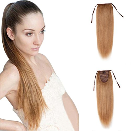 Remeehi 100% Remy Human Hair Straight Tie Up Ponytail Extensions Clip in/on Pony Tails for Women 16inch (80g 24# Light Blonde)