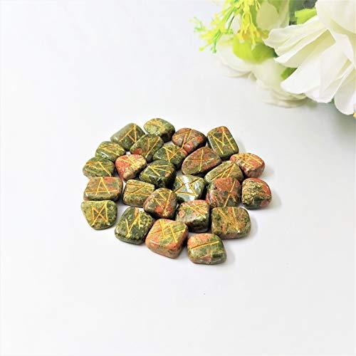 FASHIONZAADI Unakite Engraved Reiki Healing Rune Stone (25 Pcs Set) for Chakra Balancing Gemstone Crystal Energy EMF Protection Aura Cleansing Peace of Mind
