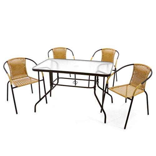 Nexos 5-teiliges Gartenmöbel-Set – Gartengarnitur Sitzgruppe Sitzgarnitur aus Bistrostühlen & Esstisch – Stahl Kunststoff Glas – beige Dunkelbraun