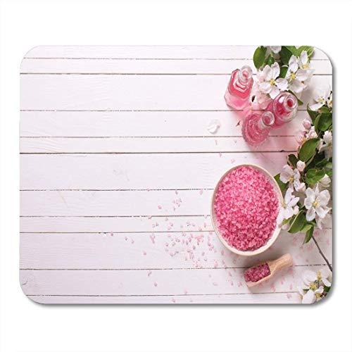 Mouse pad spa wellness einstellung rosa meersalz in schüssel flaschen mousepad für notebooks, Desktop-computer mausmatten, Büromaterial