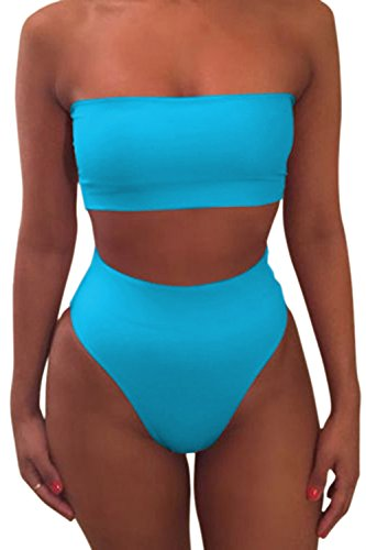 Pink Queen Women's Removable Strap Pad High Waist Bikini Set Swimsuit Blue M