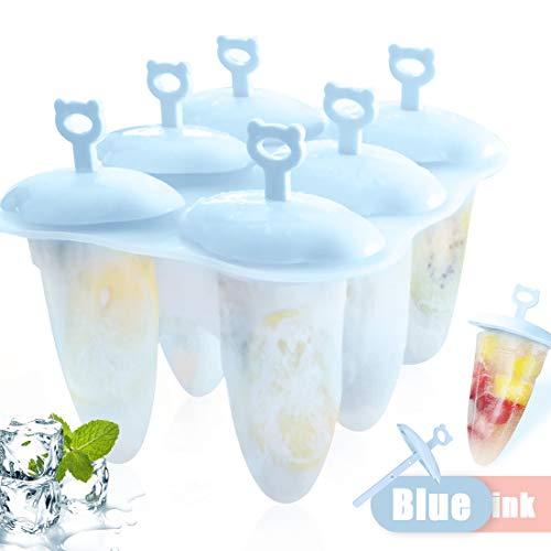 Eisformen Neuste, 6 Eisformen Popsicle Formen Set, Eisform Silikon, EIS Silikonform am Stiel Bereiter, Förmchen zum Einfrieren von Obst oder Joghurt, BPA frei, Spülmaschinenfest (Blau)