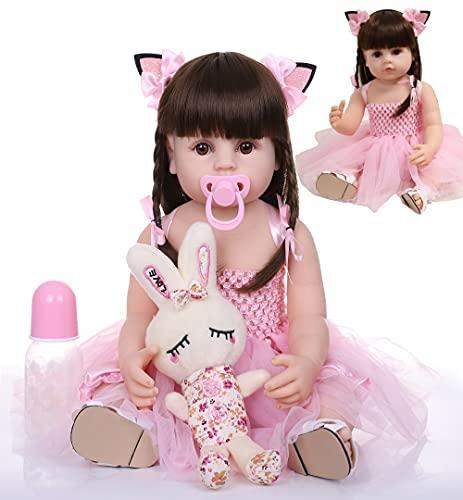 antboat 22 pollici e 55 cm Reborn Bambole Femmine Silicone Per tutto il Corpo Giocattolo da Bagno Vita Reale Giocattoli Per Neonati Regali di Natale Reborn Toddler Doll