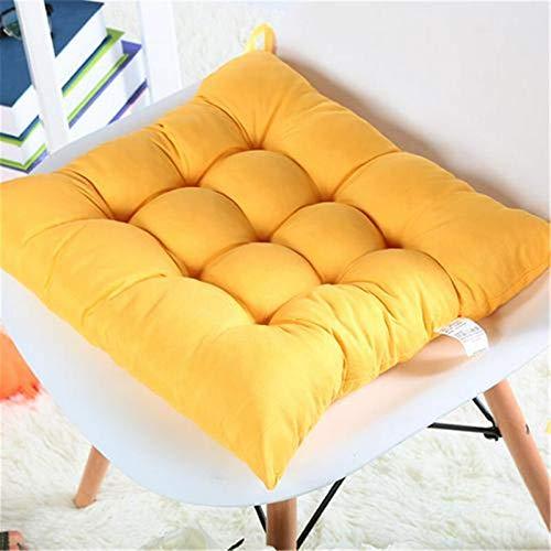 Cuscini di sedia elastica in tessuto spazzolato spesso per sedia da cucina Sedia da cucina Sedili quadrati di colore solido lavabile lavabile 40x40cm A (Colore: Plum, 规格: 40x40cm)-40x40cm,Yellow